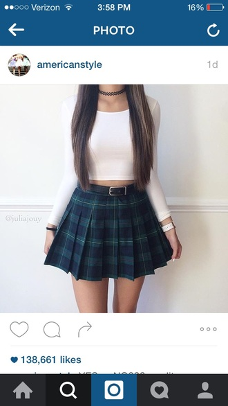 top white green blue black skirt cute crop tops plaid plaid skirt mini skirt skater skirt pleated skirt pleated cute top white crop tops plaid skater skirt jewelry choker necklace black choker necklace grunge grunge jewelry