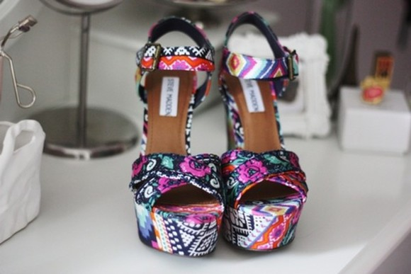 shoes high heels shorts multicolor flowers summer colored pattern