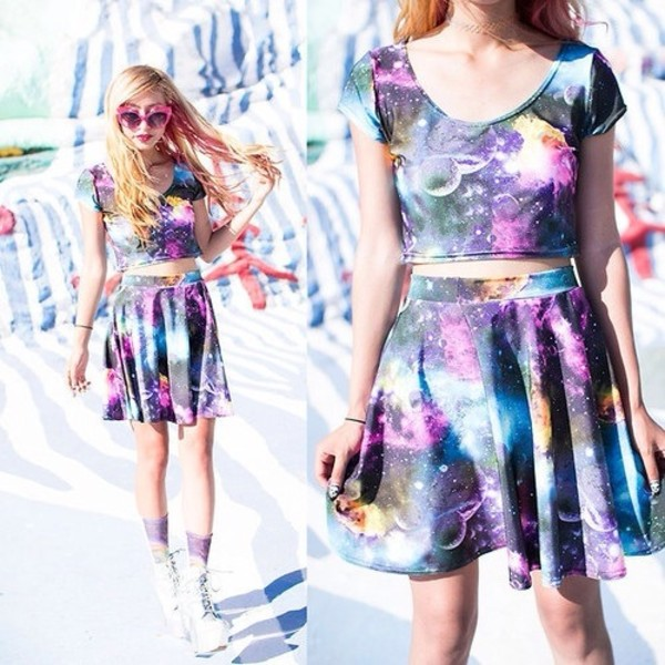 dress colorful galaxy print galaxy skirt galaxy dress skirt