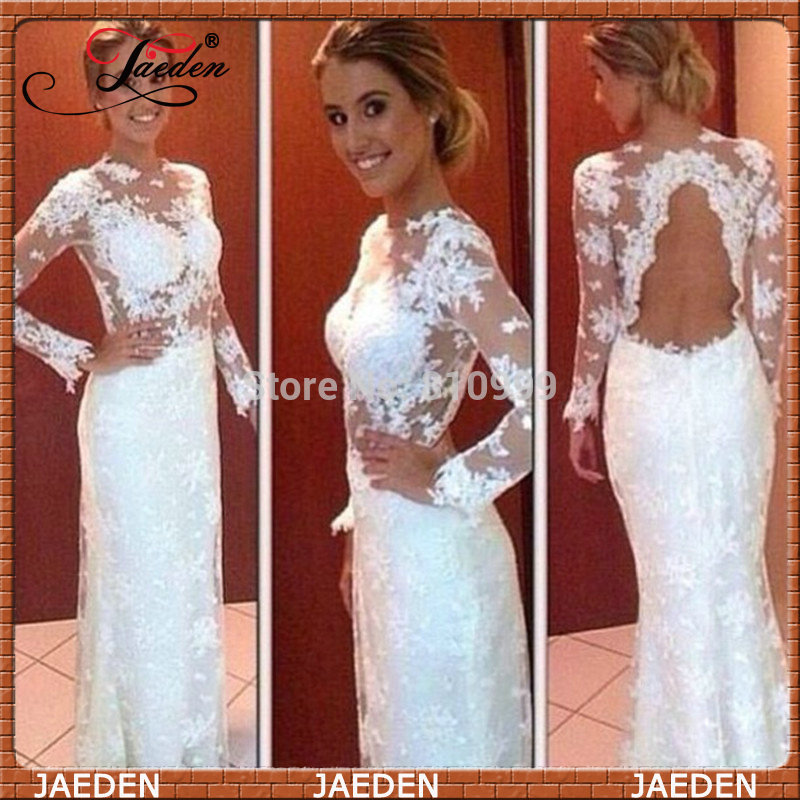 83d3e74e3791d2 Aliexpress.com : Buy PE604 Hot Sale Sexy Open Back High Neck White Mermaid  Lace Evening Dress With Long Sleeves ...