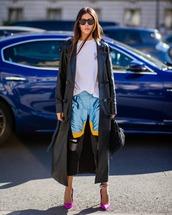 coat,leather,long coat,printed pants,cropped pants,pumps,high heel pumps,white t-shirt,handbag,sunglasses