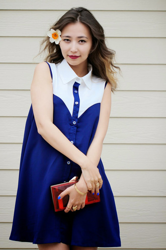 dress pretty girl fashion summer blue white girly feminine cute asian loose fit buttons fashionista blogger stylemoi style