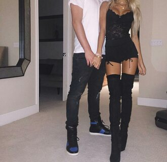 shorts black pia mia perez bow thigh high boots black boots lace top black shorts high waisted shorts