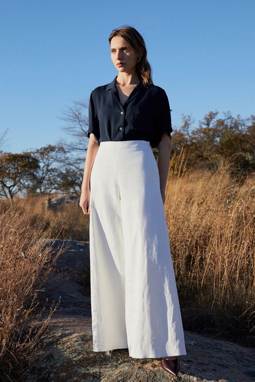Stretch Linen Wide Leg Pant - White