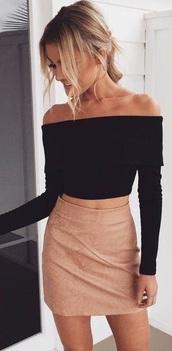skirt,nude,suede skirt,brown,beige,shirt,black,off the shoulder