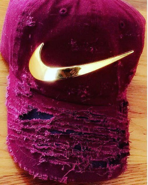 hat nike burgundy cap distressed hat ripped maroon/burgundy dad cap gold distressed denim nike hat