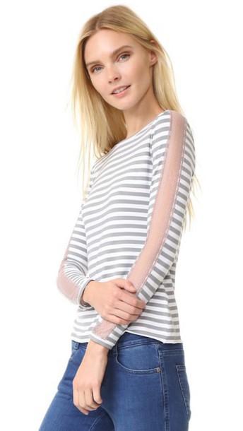 Natasha Zinko top pale lace white pink grey