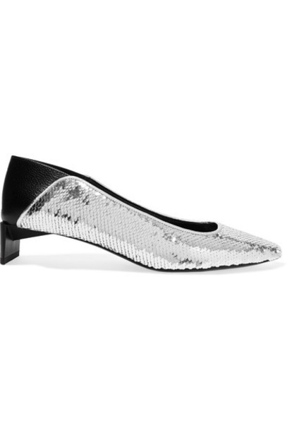 heel pumps silver leather shoes