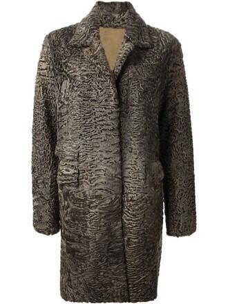 coat fur women green