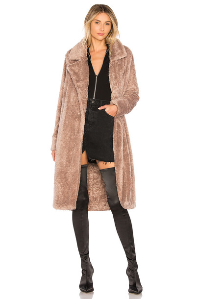 Lovers + Friends coat fur coat fur tan