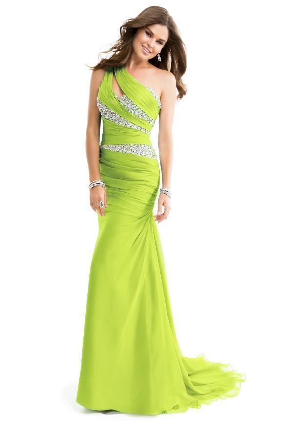 Dress: lime, green dress, chiffon, chiffon dress, prom dress ...