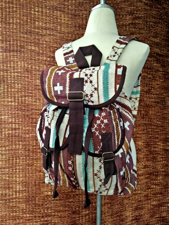 Aztec Ethnic backpack boho tribal fabric Festival Drawstring bag Bohemian Hipster Folk bucket bag Southwestern Native Men women