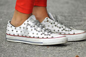 shoes,converse,studs,spiked,sneakers,white,personalized