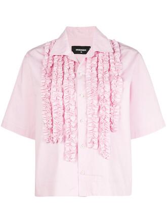 shirt short embroidered women spandex cotton purple pink top
