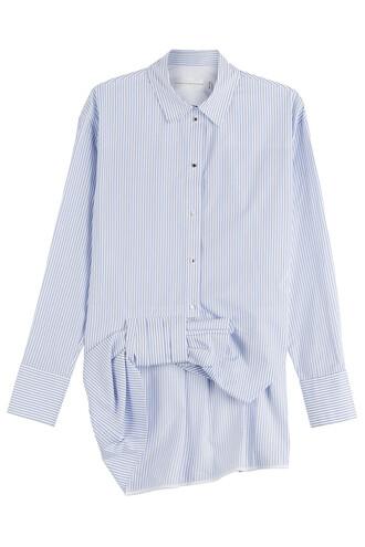 shirt bow cotton stripes top