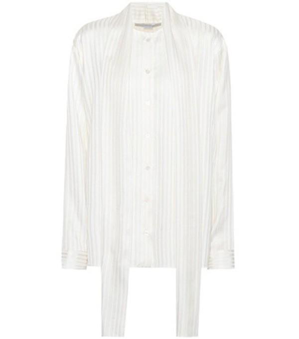 Stella McCartney Striped silk shirt in white