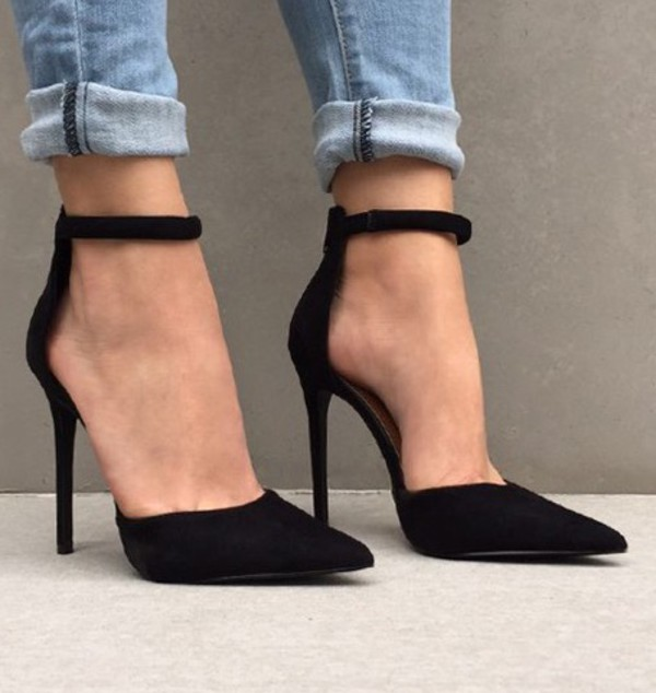 36107071677 Black Suede Pointed Toe Stiletto Heel Double Ankle Strap Heels