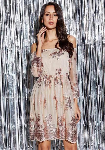 dress fashion dress women dress off the shoulder dress sequin dress long sleeve dress