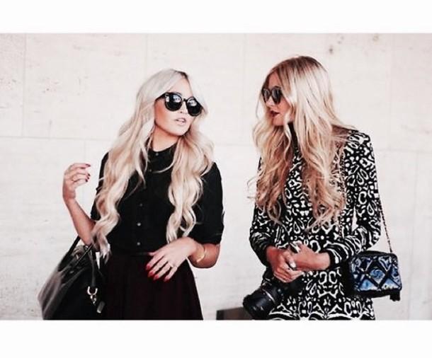 dress cute dress black skater dress little black dress blonde hair long hair sunglasses