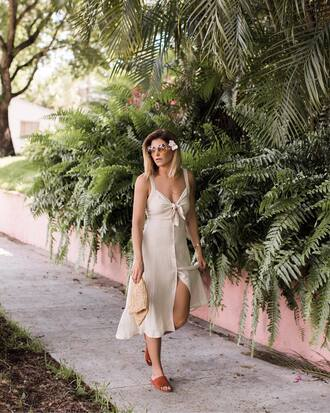 dress nude dress tumblr midi dress vacation outfits sunglasses bag clutch