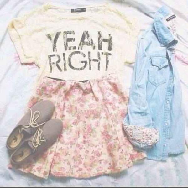 shirt quote on it denim shirt shoes skirt floral blouse top jeans t-shirt jacket