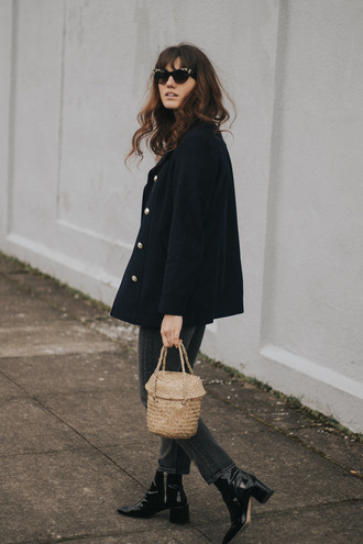 the mop top blogger coat jeans shoes bag sunglasses spring outfits ankle boots navy coat