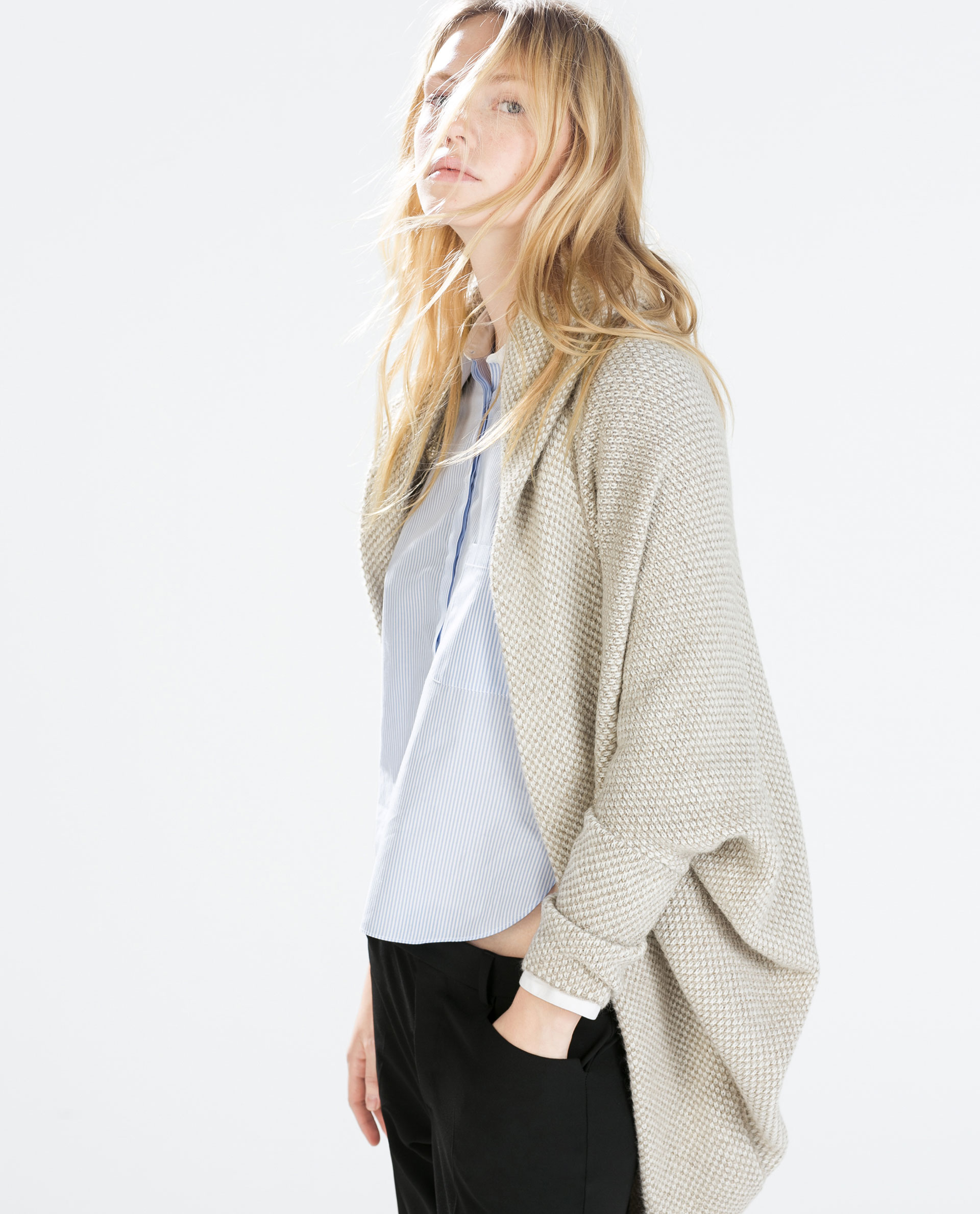 a2cd6519 TWO - TONE WRAP JACKET WITH POCKETS AND HOOD ...