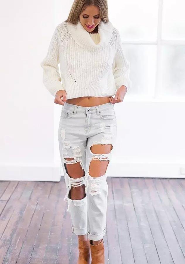 Women Fall Loose Crop Top Sweater