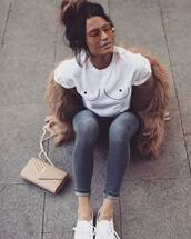 t-shirt,tumblr,white t-shirt,jacket,fur jacket,earrings,hoop earrings,gold earrings,gold jewelry,jewels,jewelry,nude bag,bag,ysl,ysl bag,denim,jeans,grey jeans,skinny jeans,sneakers,white sneakers,yellow sunglasses,aviator sunglasses,shirt