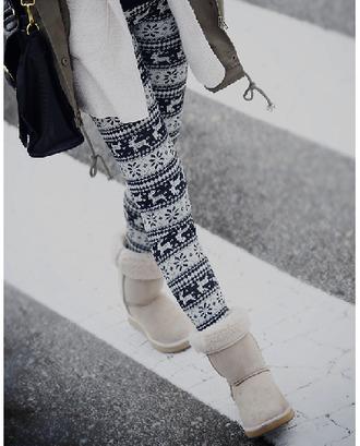 pants black white leggings christmas leggings deer snow
