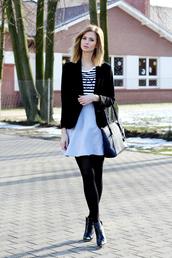 beauty fashion shopping,blogger,striped top,black jacket,grey skirt,jacket,top,shoes,bag,jewels