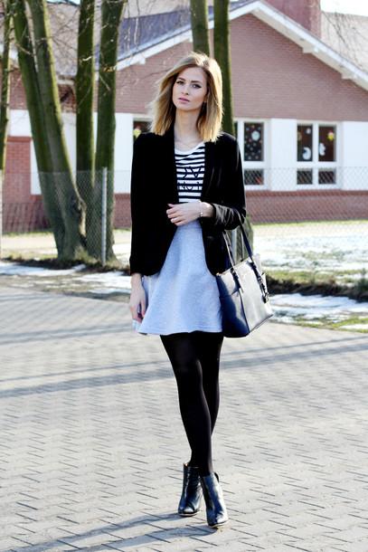 beauty fashion shopping blogger striped top black jacket grey skirt jacket top shoes bag jewels