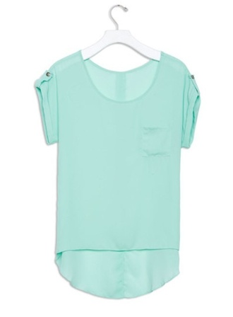 blouse teel teal blue seafoam green chiffon sheer pockets shirt top cute low back short front mint