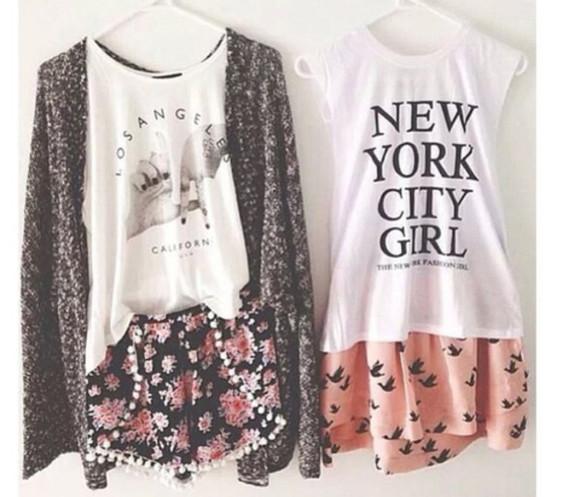 shorts floral style cute adorable birds new york city pom pom shorts