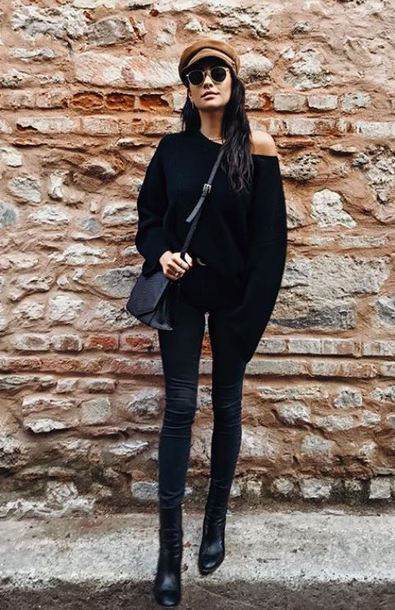 sweater fall outfits all black everything shay mitchell instagram