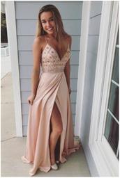 dress,mermaid prom dress,prom dress,beaded,long dress,light pink,v neck,long prom dress,blush pink,gold dress,prom 2018,sexy prom dress,pink dress,slit dress,sequins,a-line,v-cut,nude,prom
