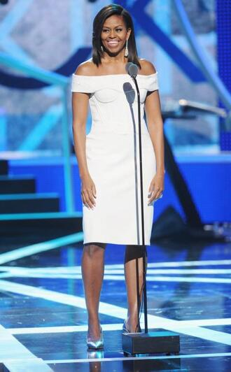 dress white white dress off the shoulder midi dress first lady outfits michelle obama bodycon bodycon dress celebrity celebrity style celebstyle for less off the shoulder dress classy dress elegant dress cocktail dress