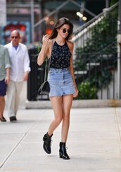 skirt,boots,kendall jenner,model off-duty,streetstyle,denim skirt,blouse,top,summer top,summer outfits,sunglasses,kardashians,purse,stars,frayed denim skirt