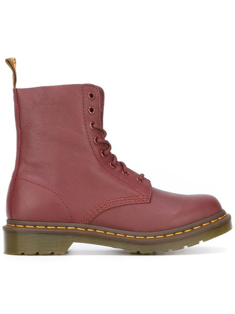 Dr. Martens women boots combat boots leather red shoes