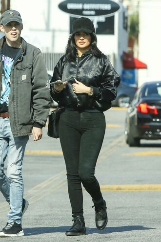 jacket leggings all black everything kylie jenner sneakers cap black bomber jacket