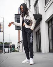 bag,belt bag,leather bag,leopard print,white sneakers,Reebok,joggers,leather jacket