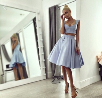 dress blue skirt blue dress blue shirt two piece dress set two-piece