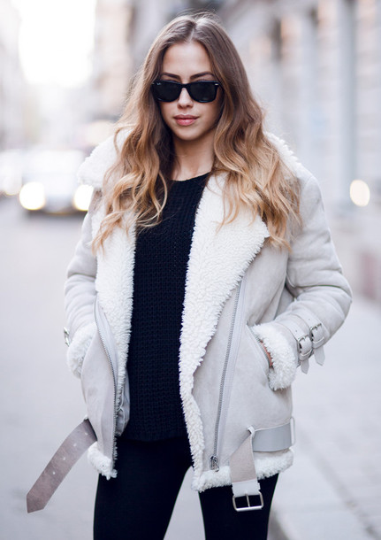 Jacket: beige shearling jacket oversized - Wheretoget