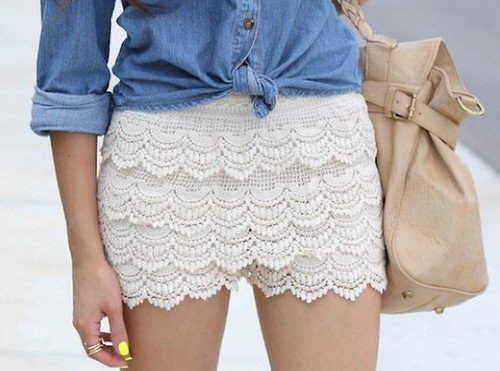 Beige Scalloped Crochet Lace Shorts From Streetcarpet On Storenvy