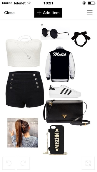 shorts polyvore bag shoes phone cover sweater top sunglasses