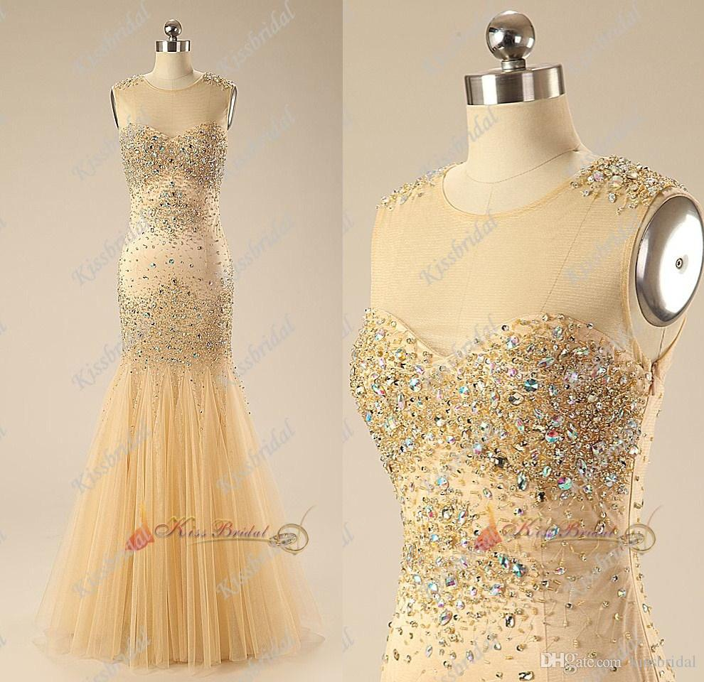 Discount 2015 Real Photos Luxurious Rhinestone Prom Dresses Crew Neck Beaded Sheath/Column Floor-length Tulle Evening Pageant Gowns 0512RF Online with $150.1/Piece | DHgate