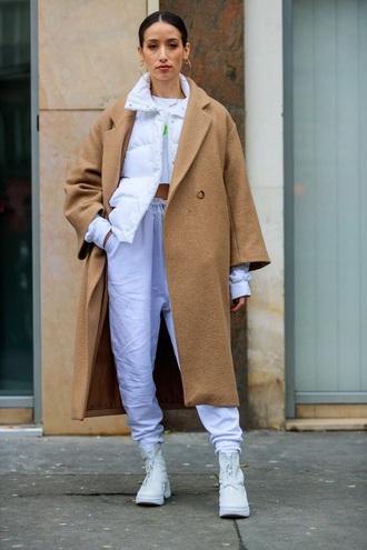 coat oversized coat oversized jacket white jacket puffer jacket white pants shoes white shoes camel coat pants streetstyle