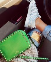bag,Valentino,green,studs,clutch
