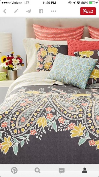 home accessory coral blue pillow yellow orange apartment bedding coral/gray paisley college dorm room hipster home decor