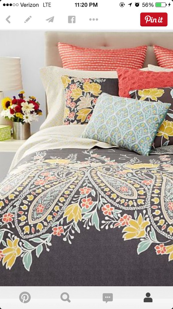 Home Accessory: Coral, Blue, Pillow, Yellow, Orange, Apartment, Bedding,  Coral/gray, Bedding, Paisley, College, Dorm Room, Bedding, Hipster, ...